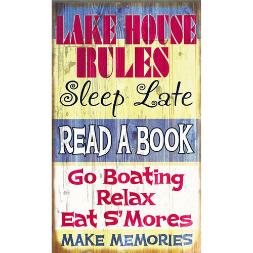 Lake House Rules Vintage Sign