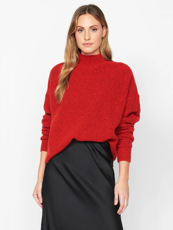Fuzzy Mock Neck Red