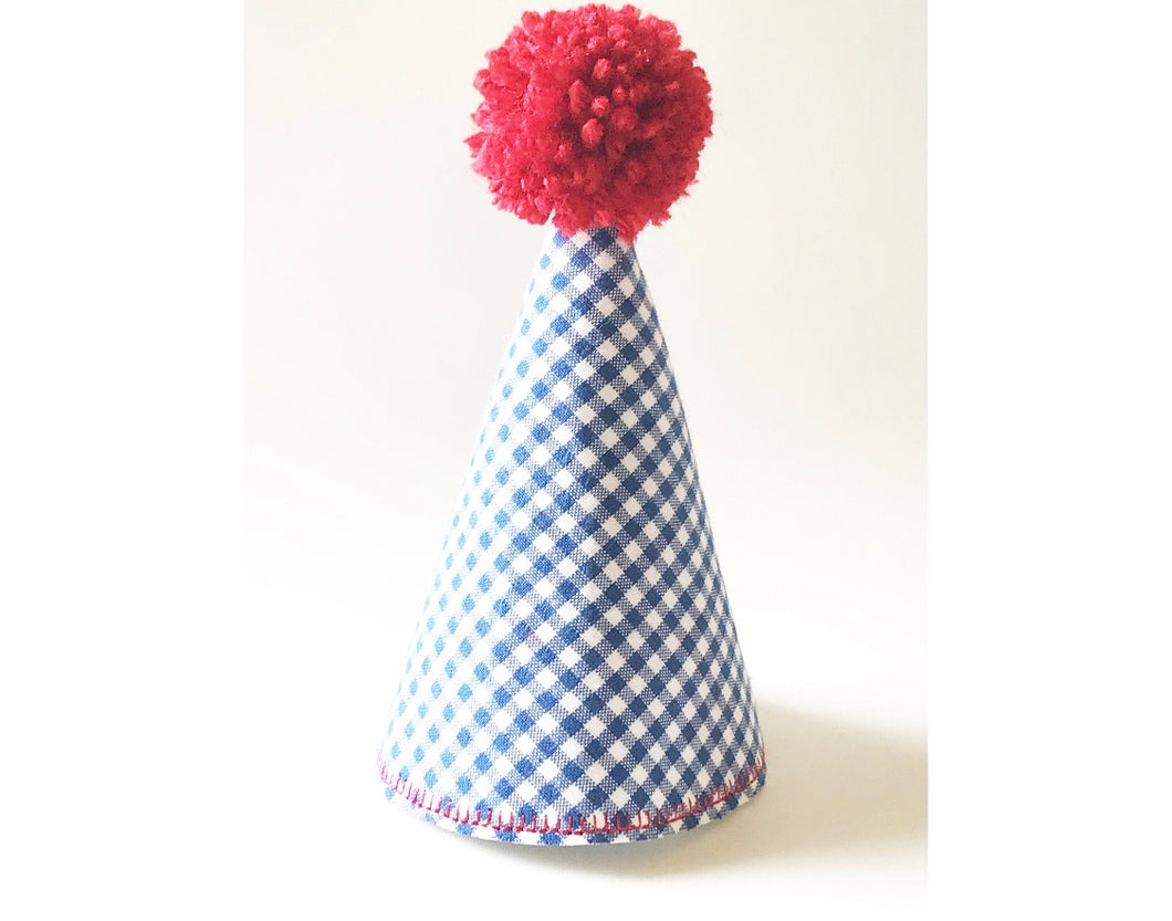 Blue and Red Gingham Pom Hat