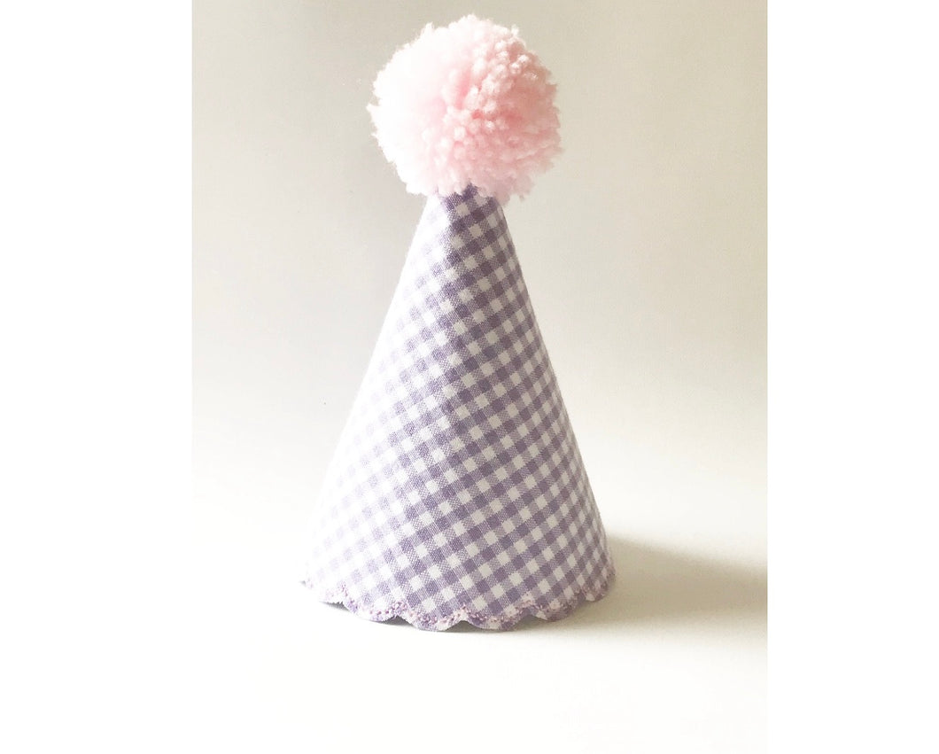 Lavender and Pink Gingham Pom Hat