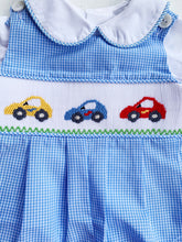 Load image into Gallery viewer, Blue Cars Long Romper/Longall