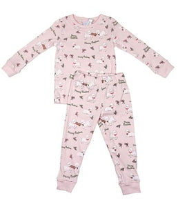 Sweet Dreams Pajamas- Christmas Lambs- light pink