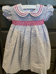 Hibiscus Linens Blue Floral and Pink Smocked Dress