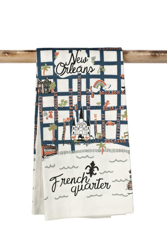 French Quarter Map Kitchen Towel