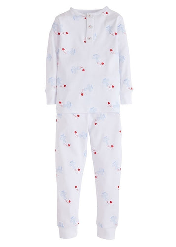 Little English Boys Airplane & Hearts Jammies
