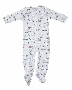Sweet Dreams Christmas Lamb Footie Pajama- light blue