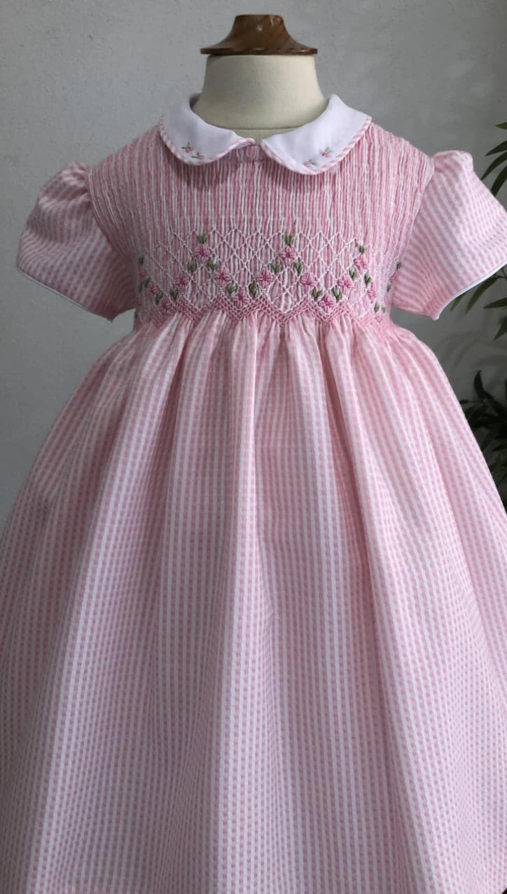Hibiscus Linens Pink Mini Gingham Smocked dress