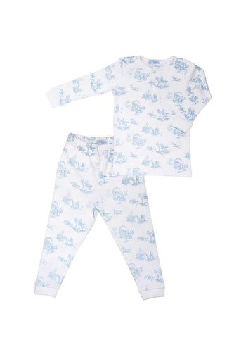 Nella Pima Blue Toile Two Piece Pajama Set