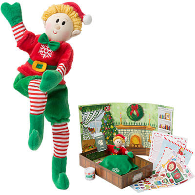 "Tumble Set Toys 10"" Elf and Board Book Set- boy, blonde hair,"