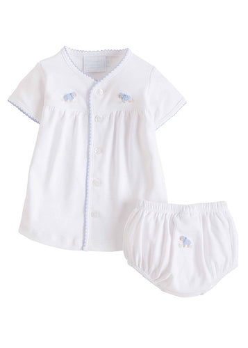 Little English Pinpoint Layette Knit Diaper Set- Blue Sheep