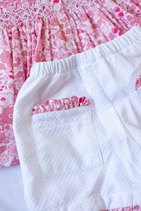 Sleeveless smocked top and short set