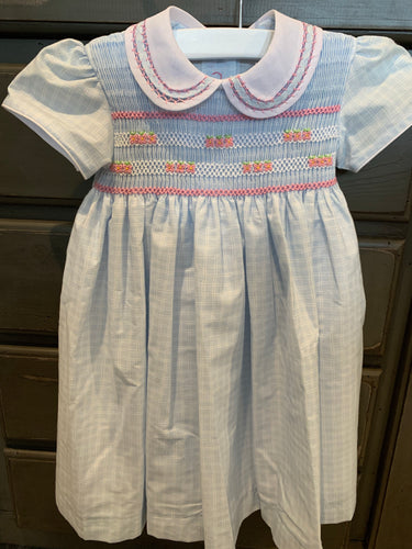 Hibiscus Linens Light Blue Windowpane Smocked Dress