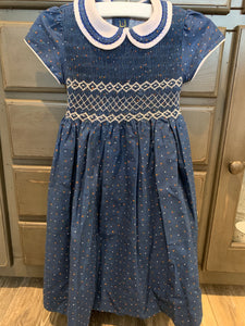 Hibiscus Linens Navy Smocked Dot Dress
