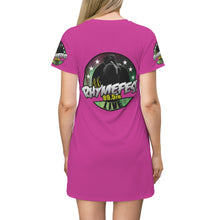 Load image into Gallery viewer, AK RhymeFest Live  (Magenta) - Womens - All Over Print T-Shirt Dress