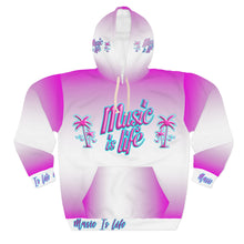Load image into Gallery viewer, Womens - Music is Life - Violet PalmTree - AOP Unisex Pullover Hoodie