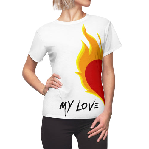 Women's - My Love Burns For You - (Matching) AOP Cut & Sew Tee