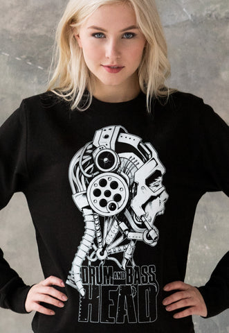 Drum and Bass Cyborg Head Sweatshirt Jumper