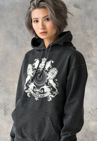 Women's Junglist Lion Crest. Washed Effect Hoodie