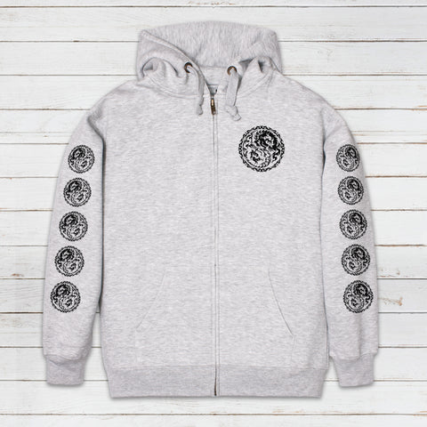 Tokyo Drum and Bass Zip Up Hoodie .Grey Hooded Top.