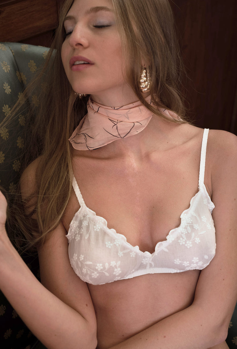 Ella bralette embroidered white cotton