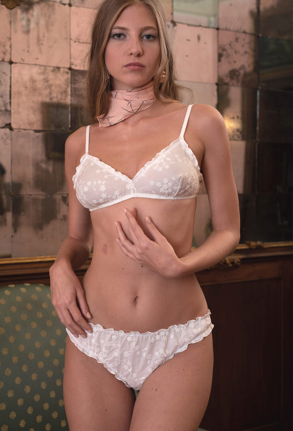 Shh knickers embroidered white cotton