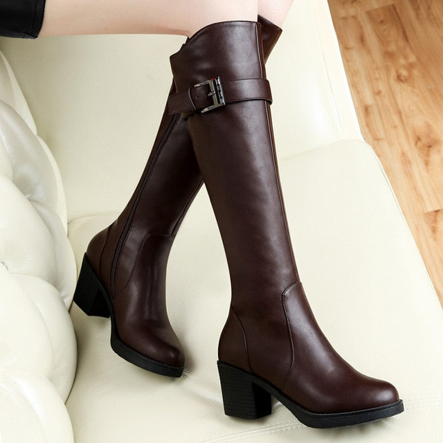 2017 new Centennial in autumn and winter boots with coarse British high tube BIKER BOOTS high-heeled shoes women boot