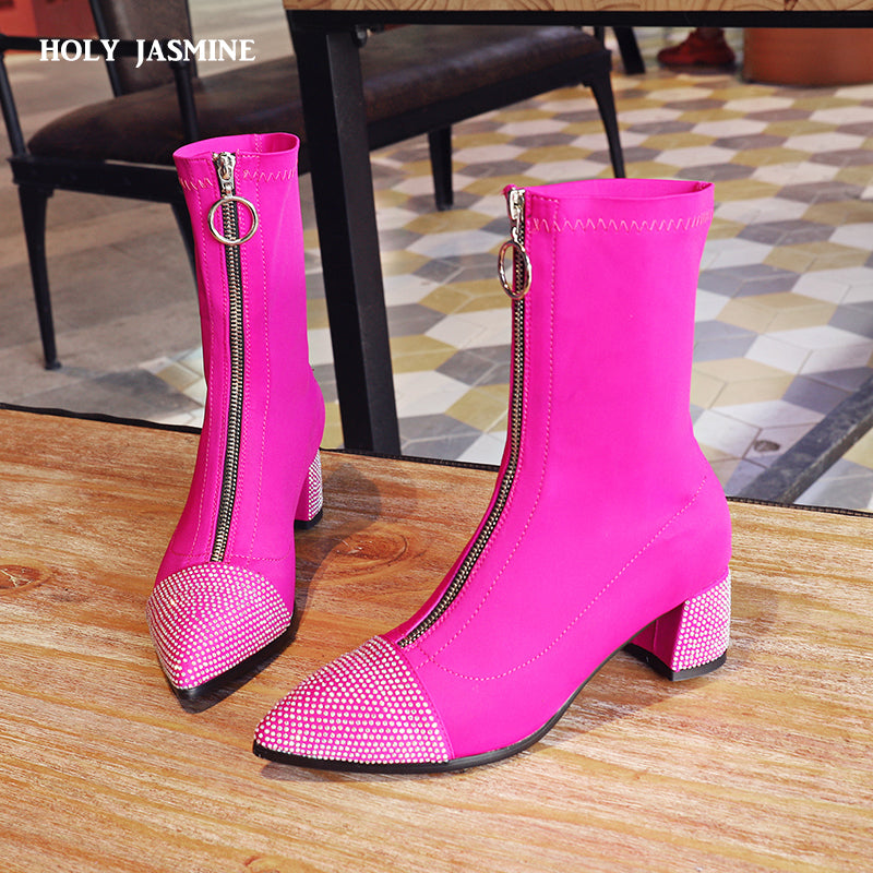 New fashion Shoes women boots stretch ankle boots pointed toe