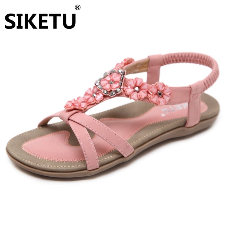 habazoo - New Sweet Cherry Decoration Sandals Bohemian style and Flowers Dress Up girl's Flat Sandals big size women sandals - Habazoo -