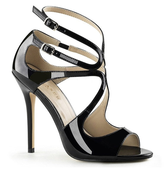 habazoo - Peep Toe Shiny Black Strappy Sandals Ankle Strap Stilettos Sliver Gold Elegant Heels Patent Leather Woman Summer Shoes - Habazoo -