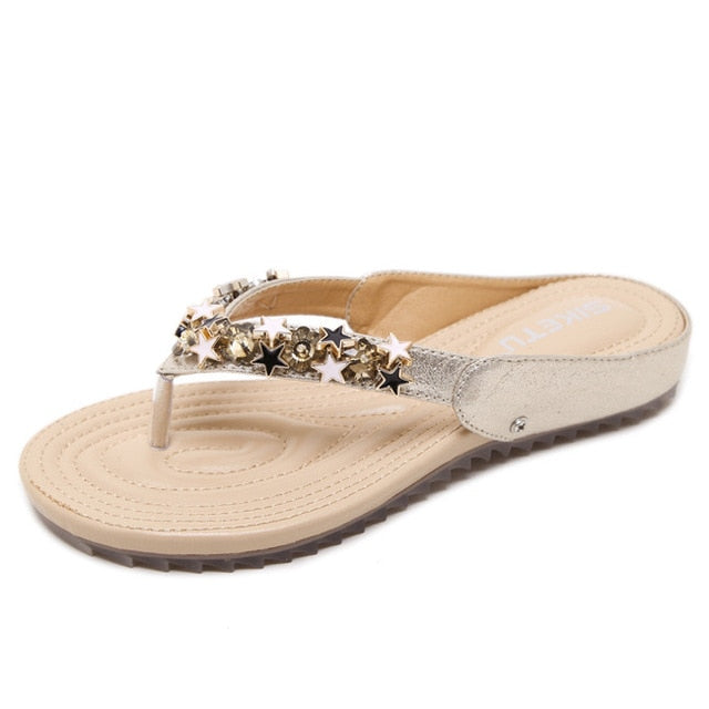Women Shoes New Fashion Summer Women Casual Sandals Golden Bling Stars With Lady Leisure Beach Shoes - Habazoo
