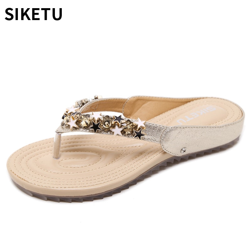 habazoo - Women Shoes New Fashion Summer Women Casual Sandals Golden Bling Stars With Lady Leisure Beach Shoes - Habazoo -