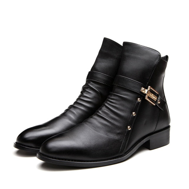 Winter Shoes Men Genuine Leather Ankle Boots Fashion Rivets Men's Chelsea Boot
