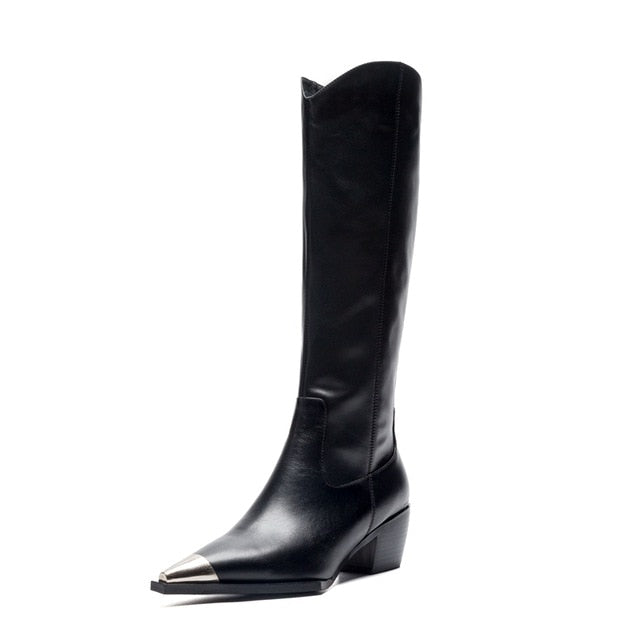 Black knee-high Boots Women Winter Superfine fiber Pointed Toe Thick High heel Metal Boot