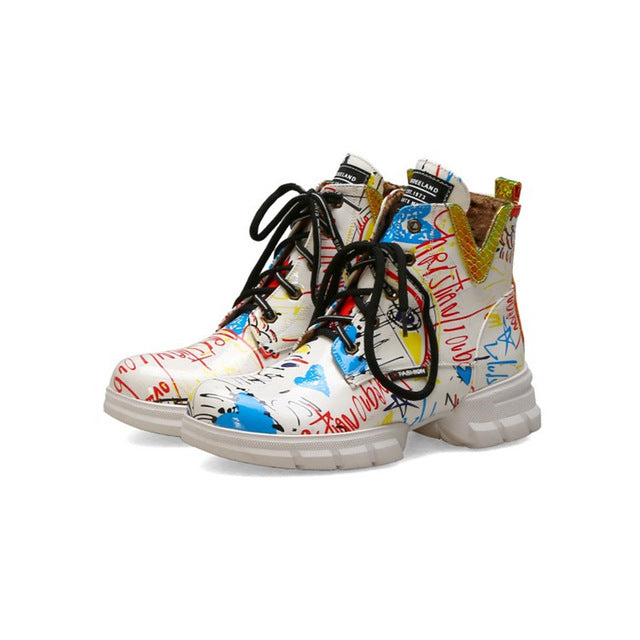 British style graffiti thick with newspaper pattern personality short boots with students large size boots women