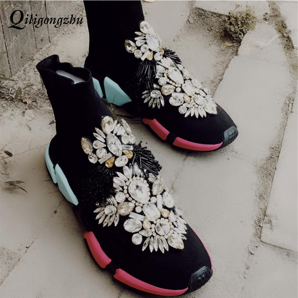 Sneakers Boots Sport Female Flat Polyester Spandex Ankle Length Rhinestones Sock Sneakers Casual Shoe