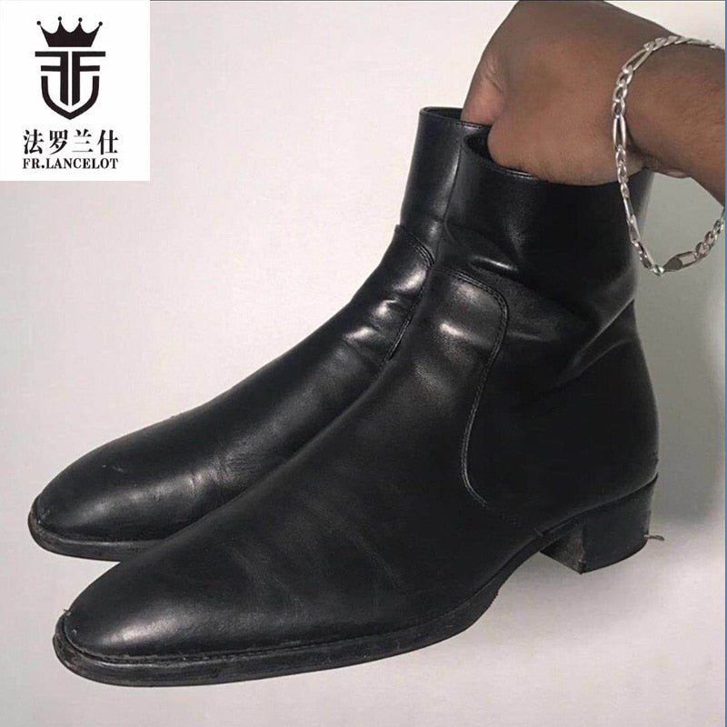 habazoo - chelsea boots Black cow Real leather men riding botas low heel motorcycle boot men winter zapatos de mujer - Habazoo -