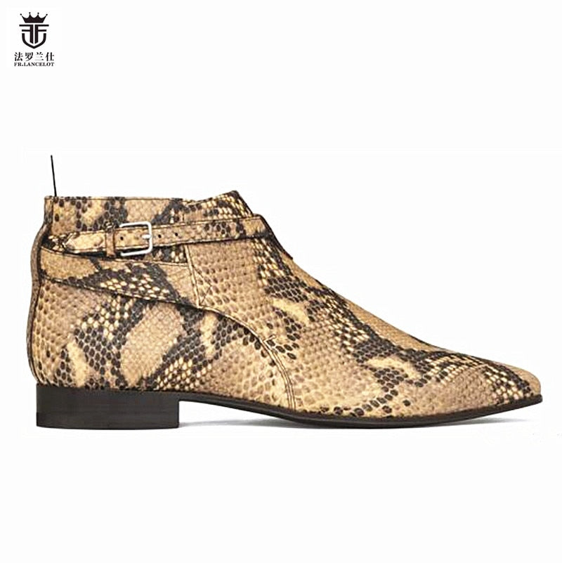 habazoo - FR.LANCELOT new arrival snakeskin print booties genuine leather chelsea boots print ankle boots men fashion autumn boots - Habazoo -