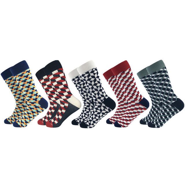 habazoo - Casual Men Socks New Socks fashion design Plaid Colorful happy Business Party Dress Cotton Socks Man - Habazoo -