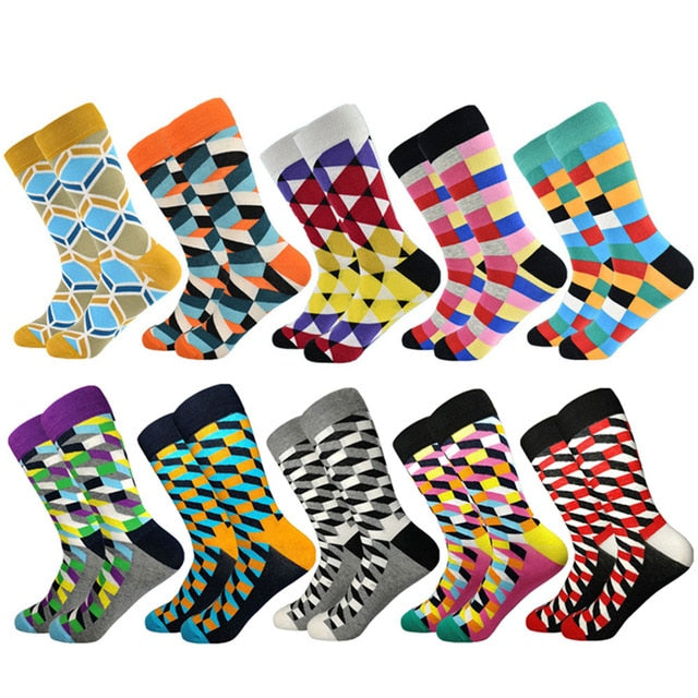 Casual Men Socks New Socks fashion design Plaid Colorful happy Business Party Dress Cotton Socks Man - Habazoo