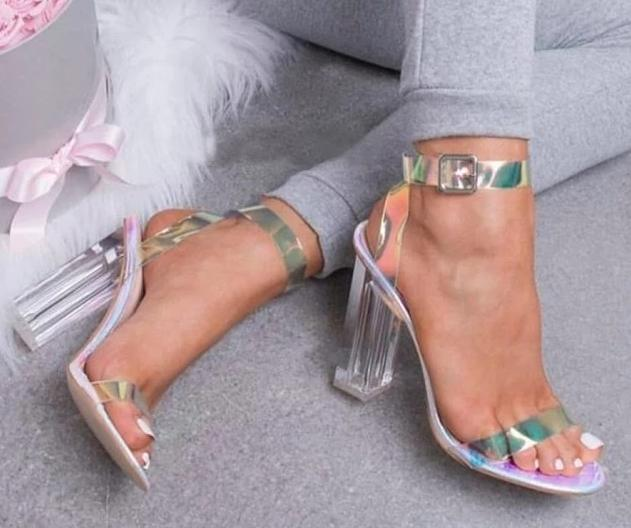 habazoo - 2019 NEW Fashion Women Pumps Celebrity Wearing Simple Style PVC Clear Transparent Strappy Buckle Sandals High Heels Shoes Woman - Habazoo -