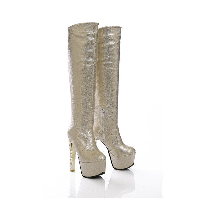 habazoo - 2019 New 15cm super high heels women Boots 6cm platform knee high boots ladies dress club dancing shoes gold silver blue - Habazoo -