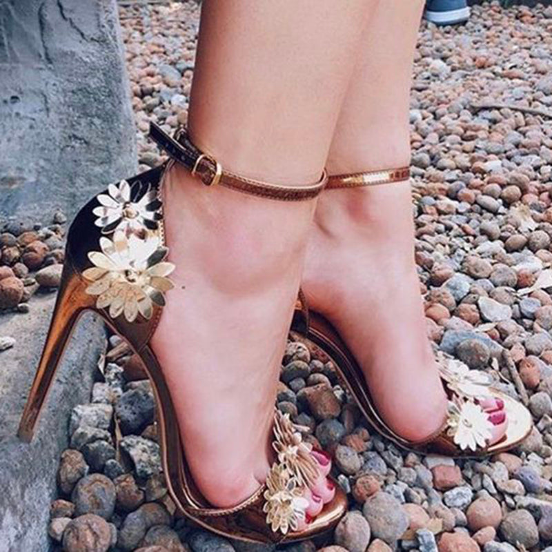 habazoo - Women 11.5cm High Heels Gold Strap Peep Toe Flower Glossy Sandals Female Fetish Shoes Lady Valentine Stiletto Pumps - Habazoo -