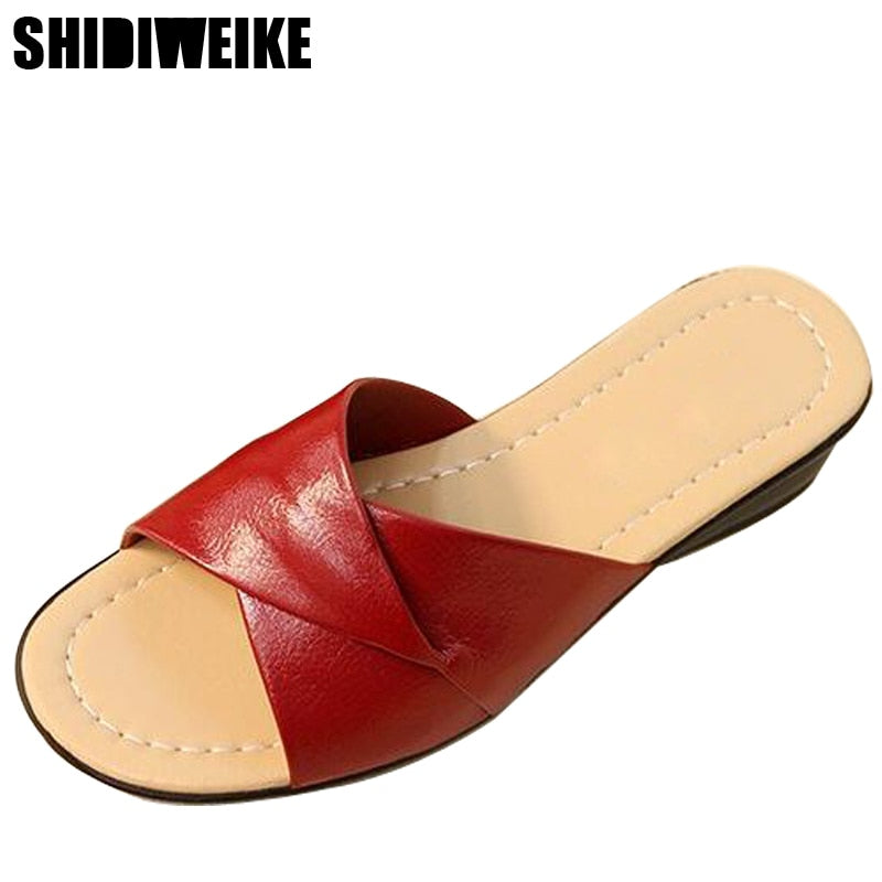 habazoo - Summer new soft bottom large size leather slippers non-slip comfortable woman cool slippers mother slippers size 36- 42 - Habazoo -