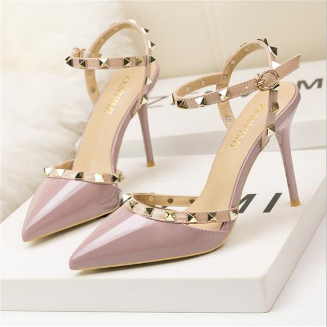 women high heels 9cm Patent Leather fashion rivets sexy pointed pumps party wedding shoes