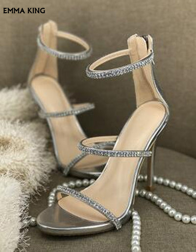 habazoo - Sexy Gold High Heels Open Toe Ankle Strap Heels Sandals Beautiful Women Pumps Stilettos Sparkle Rhinestone Pumps Shoes Woman - Habazoo -