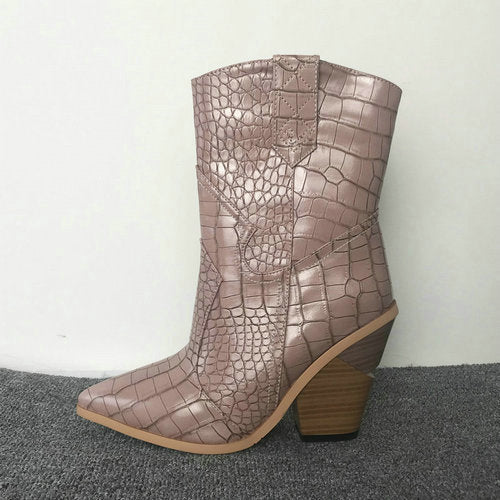 2020 Snake Print Ankle Boots for Women Autumn Winter Western Cowboy Boots Women Wedge High Heel Boots White Black Yellow Boots