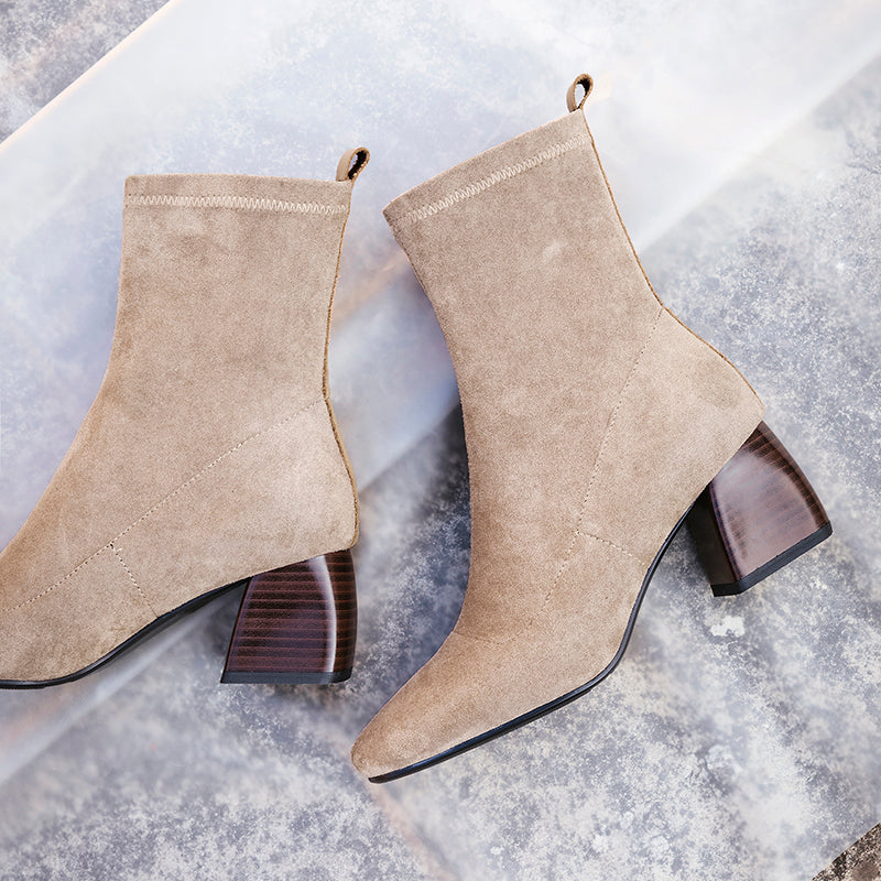 22-26.5cm length big size Women Boots hot sale casual fashion Square head thick with elastic Spring and Autumn Essentials