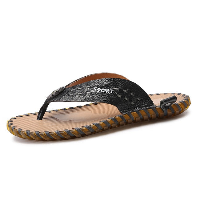 Men's Casual Shoes Genuine Leather Sandals Men Flip Flops Breather Slippers Plus Size Summer Sapato Masculino - Habazoo