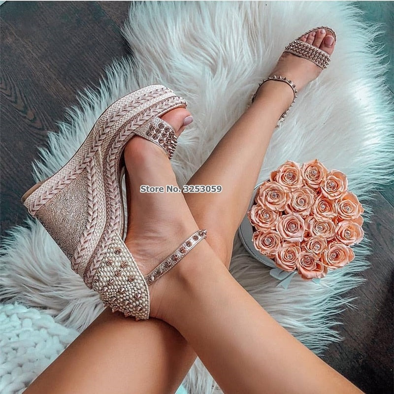 habazoo - ALMUDENA New Arrival Women Wedge Heel Braided Rivets Sandals Wrapped Heel Strappy Pumps Spring Summer Party Shoes Dropship - Habazoo -