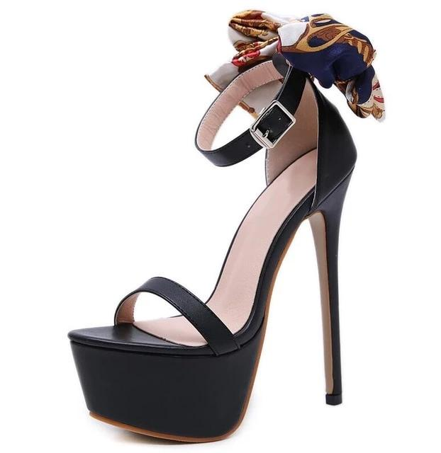 habazoo - Aneikeh NEW Sexy 16cm Ultra High Heels Butterfly-knot Sandals For Women Summer Platform Open Toe Shoes Woman Sandals Pumps Black - Habazoo -